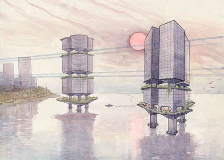 Один из первых эскизов зданий с зелеными насаждениями, созданных А. Юницким (80-е годы ХХ в.)