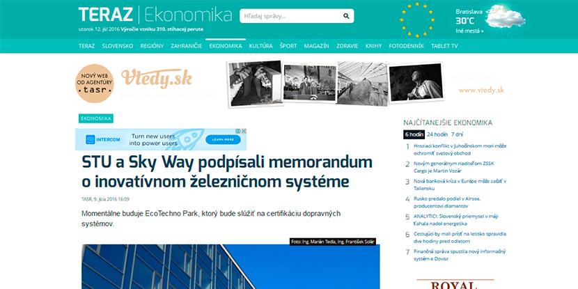 SkyWay в словацком СМИ