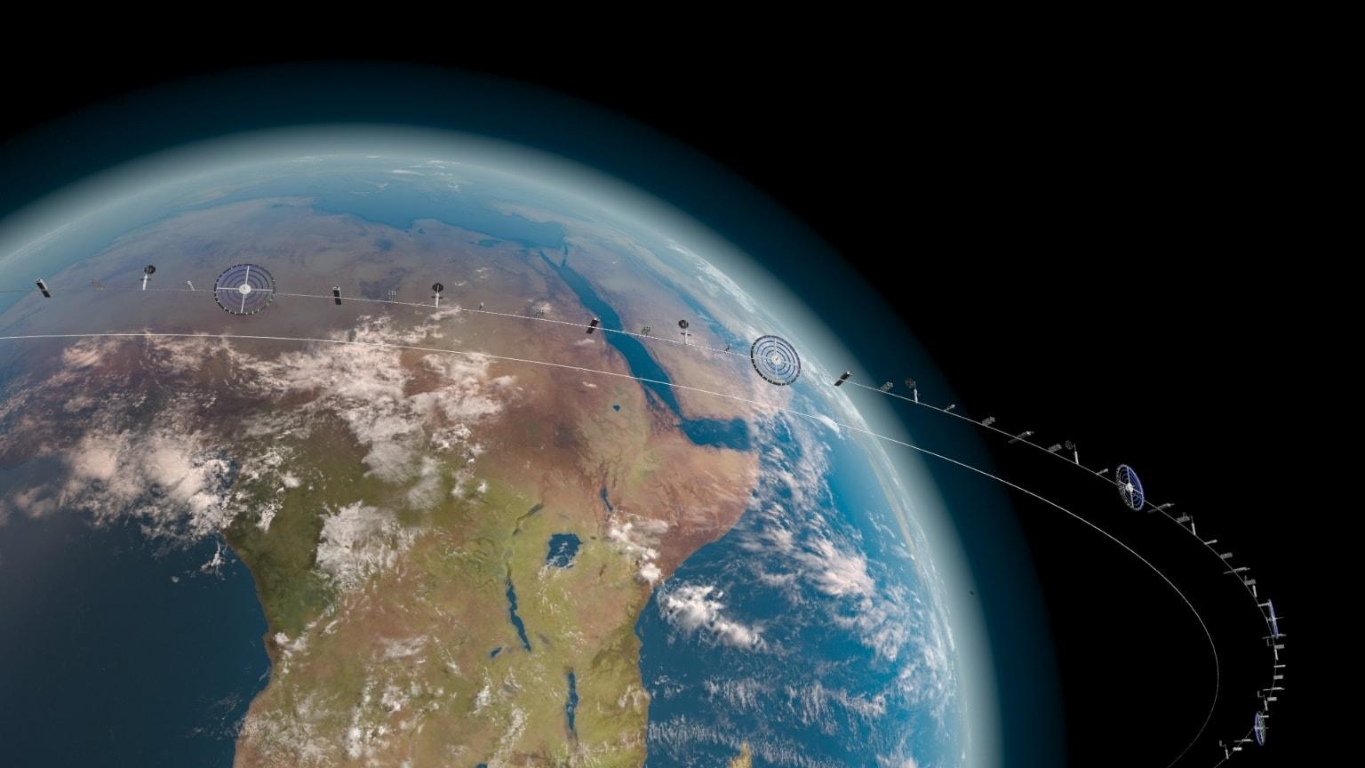 Рис. 4. Индустриальное космическое кольцо планеты (тонкая нить – ОТС во время подъёмаспуска)