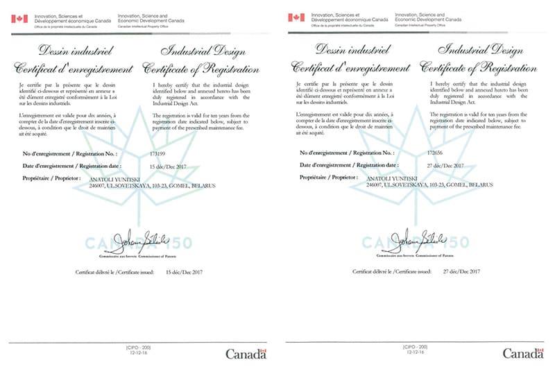 Получены канадские сертификаты на зарегистрированные промышленные образцы подвижного состава SkyWay