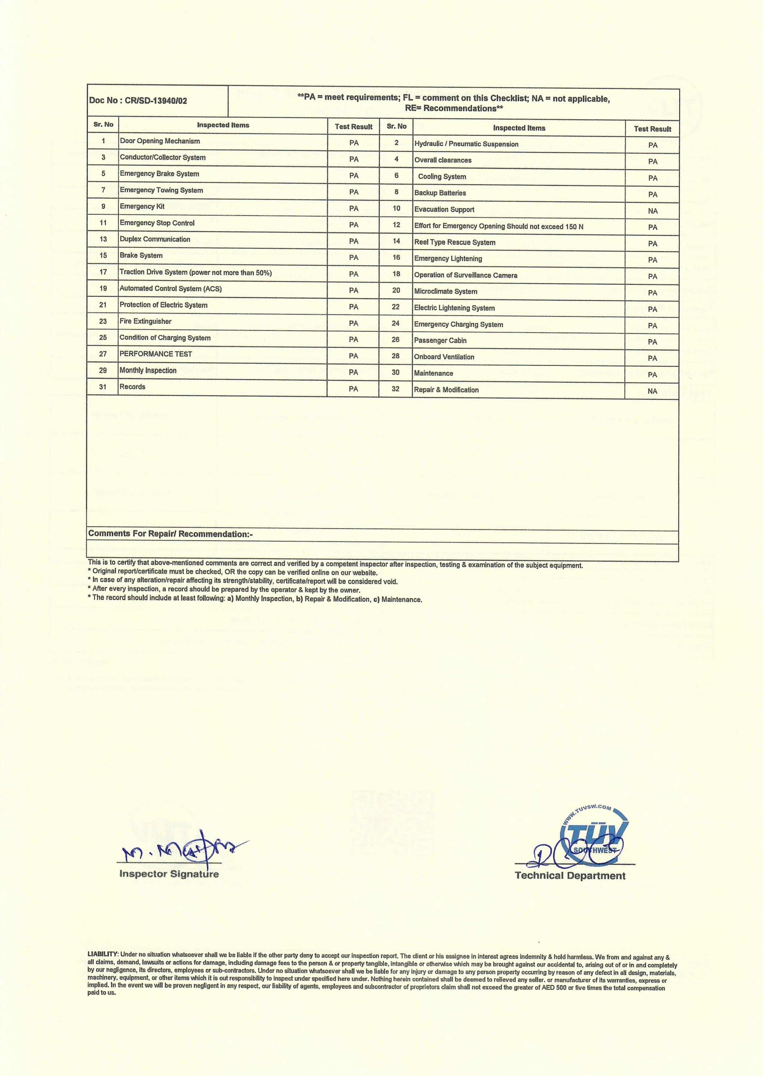 Inspection and Thorough Examination Report_2