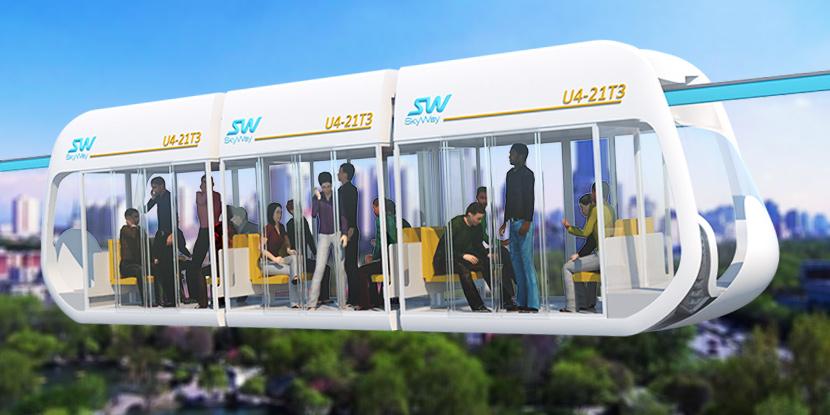 Модельный ряд инновационных городских пассажирских транспортных средств SkyWay - монорельсовых юнибусов среднего класса