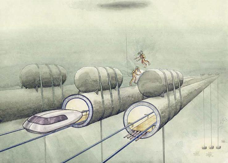 Один из первых эскизов элемента системы, в которой передвижение транспортного средства осуществляется в трубе с разреженной атмосферой (80-е годы XX в.)