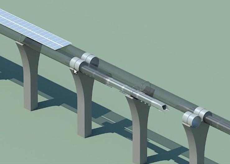 3D модель транспортной системы, разрабатываемой в рамках проекта Hyperloop (2000-е годы)