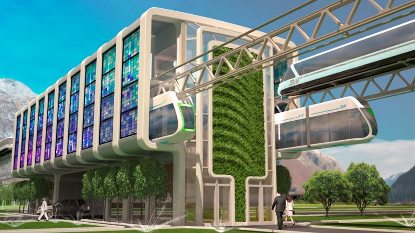 Пересадочная пассажирская станция технологии SkyWay в городе, на которой осуществляется пересадка с междугородной высокоскоростной системы на скоростную городскую