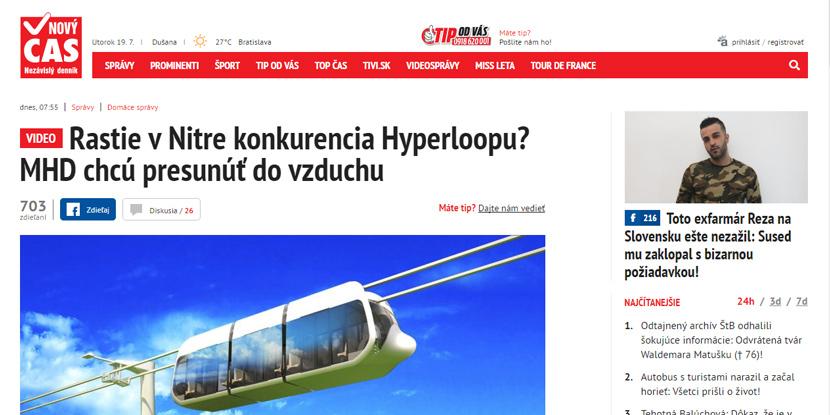 Словацкие СМИ о SkyWay: в городе Нитра появился конкурент Hyperloop