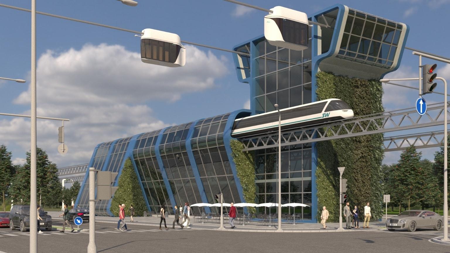 Рис. 10. Станция пересадки с городской на высокоскоростную линию SkyWay
