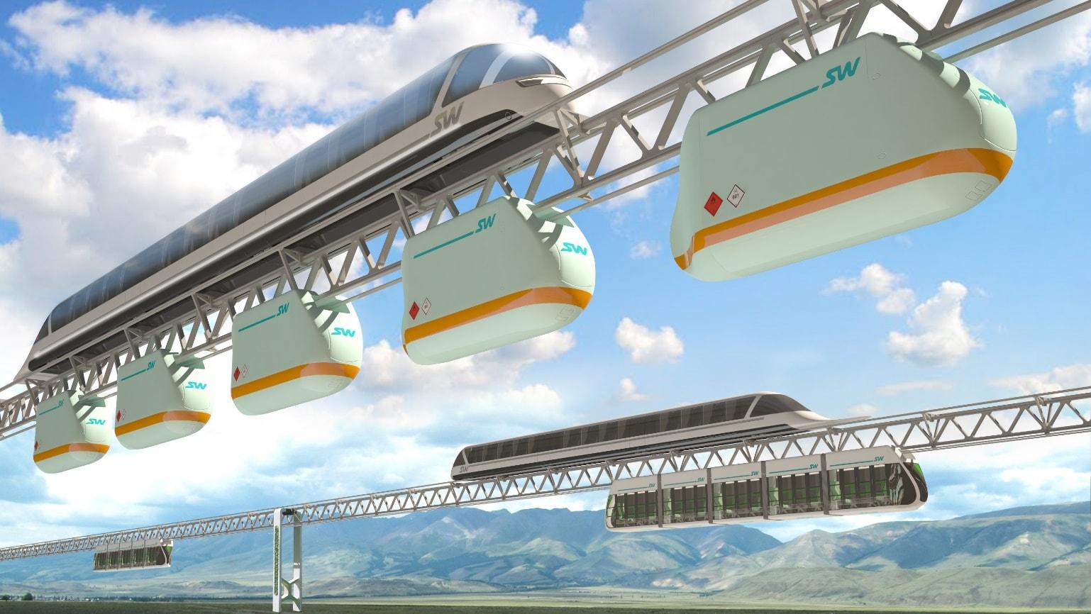 Рис. 8. Эстакада SkyWay – грузовой, высокоскоростной и городской варианты подвижного состава