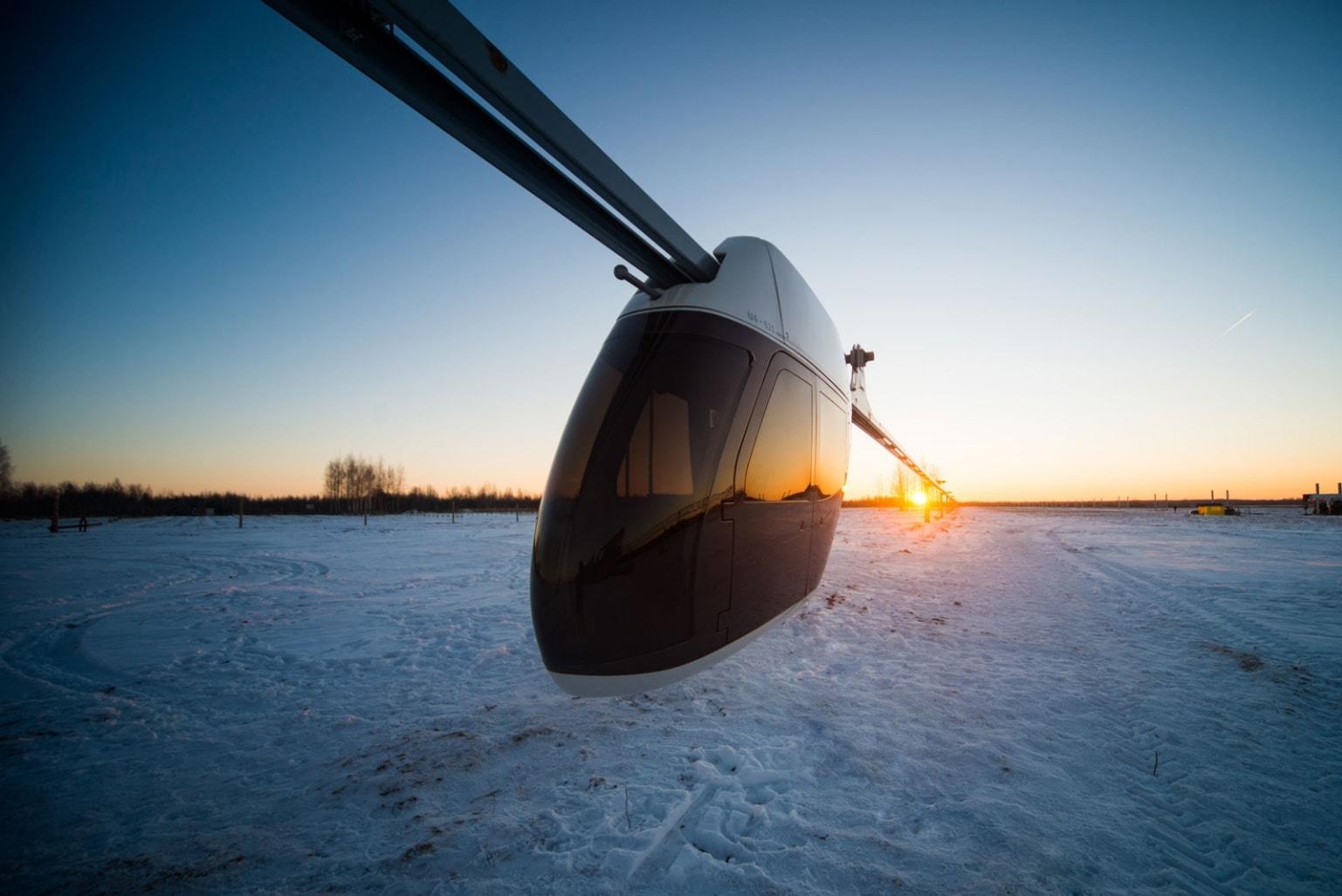 Рис. 9. Испытания подвижного состава на тестовом участке SkyWay (г. Марьина Горка, Беларусь, зима 2016)