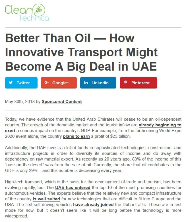 Better Than Oil — How Innovative Transport Might Become A Big Deal in UAE