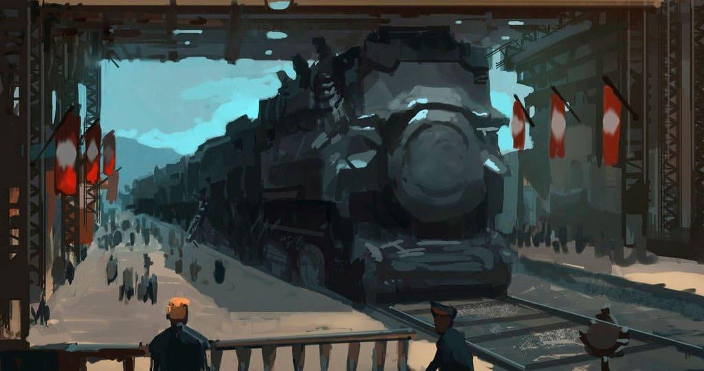 Визуализация одной из концепций поездов будущего, сформровавшейся в середине XX века
